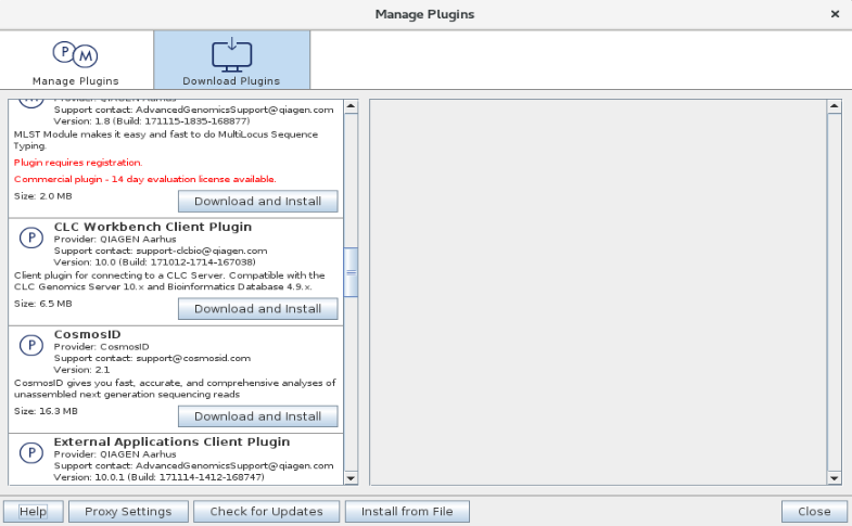 screenshot of CLC software Download Plugins Screen