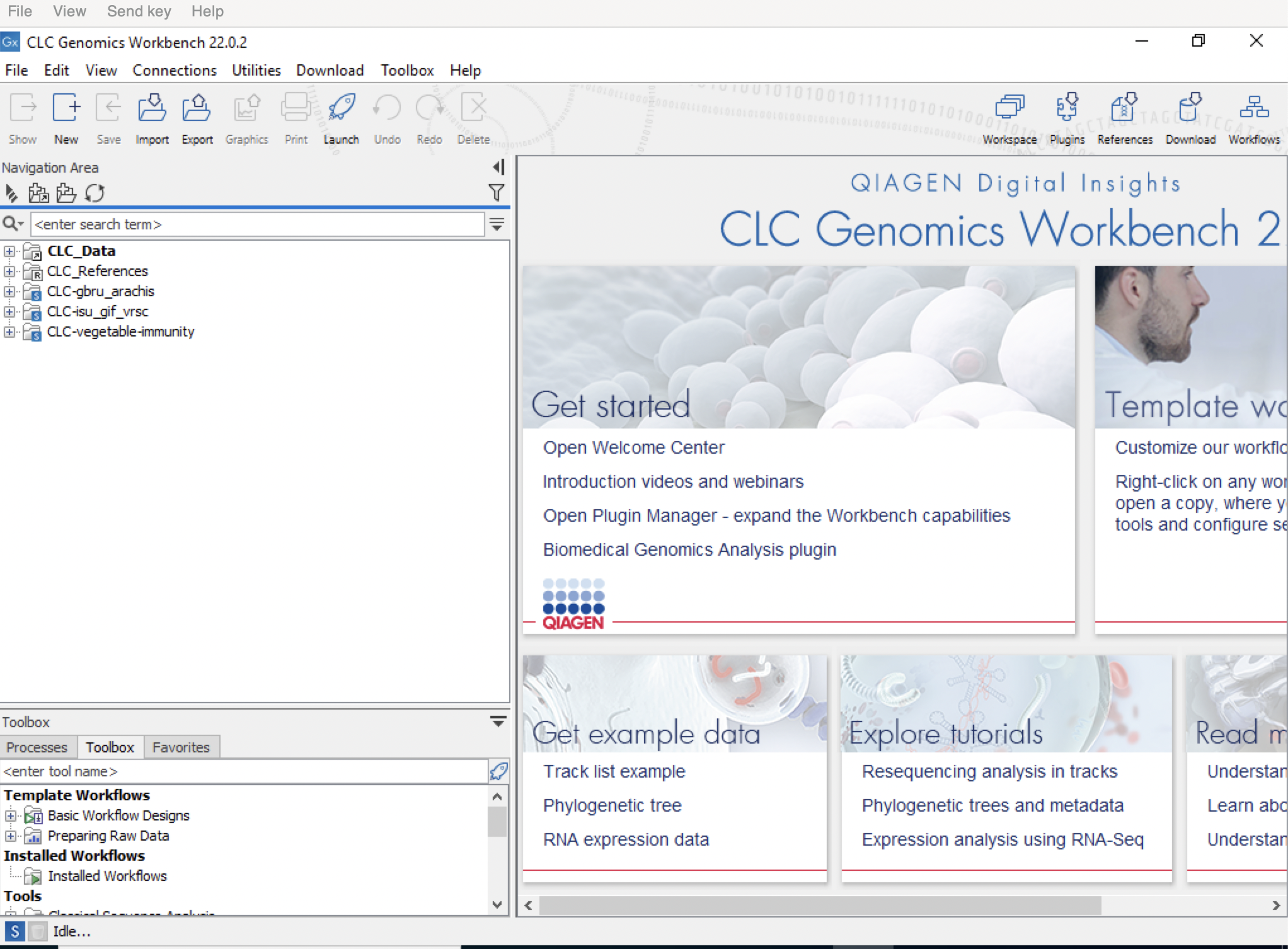 screenshot of CLC Genomics Workbench 11.0.1 software homescreen