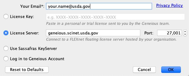 screenshot of Geneious software Enter Your License Details screen